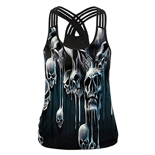 Vanvler { Women Tank Tops Sleeveless Vest } Ladies Skull Print Casual { Shirt Blouse } Bandage Camis Crop Top (XL, Black)