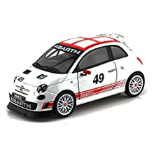 Bburago Fiat Abarth 500 #49, White 28101 - 1/24 Scale Diecast Model Toy Car