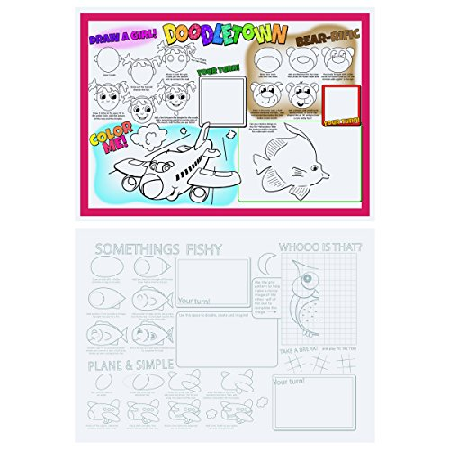 Hoffmaster 310692 Doodle Town Fun 2-Sided Placemat, 10