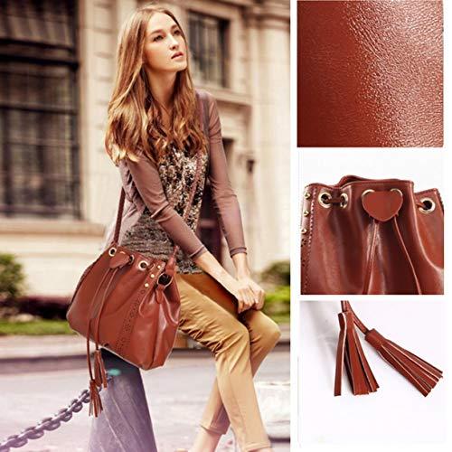 mujeres cuerpo de bolsas manera de crossbody de bolso Señoras Detectoy PU con cruzado bolso hermoso cuero cordón hombro de la suave bolsos wO5ZPqUf