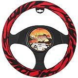BDK Universal Fit Steering Wheel Cover - (Red Zebra)