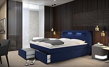 Led Beleuchtung Bett | Mallira Boxspringbett 180x200 Cm Blaues Polster Bett In Stoff Mit