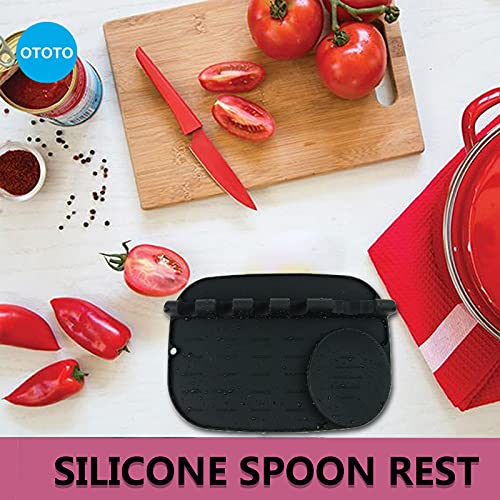 Silicone Utensil Rest with Drip Pad, Large Heat-Resistant Silicone Spoon Rest 2 in 1 for Kitchen Counter Stove Top, BPA-Free Multiple Utensils Spoon Holder (black)
