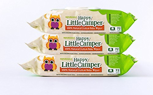 Happy Little Camper Baby Wipes, Natural All-Cotton with Organic Aloe, for Sensitive Skin, 3 Packs of 72