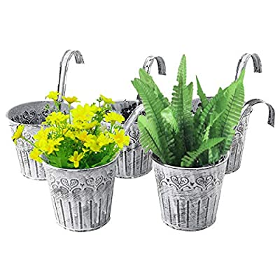 HighFree 5 Pack Metal Iron Flower Pot Vase Wall Fence Hanging Balcony Garden Patio Planter for Home Decor Vintage Feel Style (No Drain Hole): Garden & Outdoor