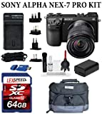 Sony Alpha NEX-7 24.3 MP Compact Interchangeable Lens Camera with Sony E-Mount SEL 1855 18-55mm f/3.5-5.6 Zoom Lens (Black) + Velsey Gadget Bag + 64GB SDXC Card + Travel charger + Card Reader + Giottos Cleaning Kit + Filter Kit, Best Gadgets
