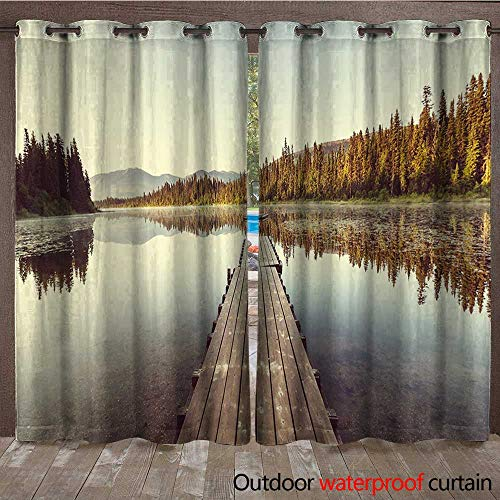 BlountDecor Fall Door/Gazebo Curtain Wooden Pier on The Lake Serene Morning in The Woods Fishing Misty Recreational ImageW120 x L108 Multicolor (Right Lighted Pier)