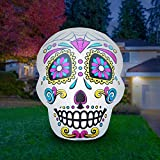 Holidayana 4 Ft Airblown Inflatable Halloween Skull - Inflatable Halloween Decoration with Super Bright Internal Lights, Built-in Fan, and Anchor Ropes