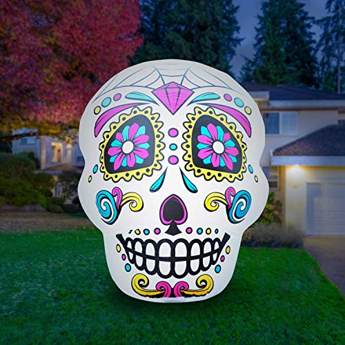 Holidayana 4 Ft Airblown Inflatable Halloween Skull - Inflatable Halloween Decoration with Super Bright Internal Lights, Built-in Fan, and Anchor Ropes ()