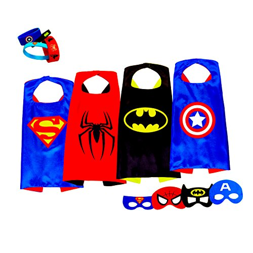 Superhero Capes Costumes For Kids, Girls & Boys | Pretend Play 4 Satin Capes, 1 Glow Bat Cape, 4 Masks & 4 Glow Bracelets | For Halloween, Birthdays Party Favors, Dress Up