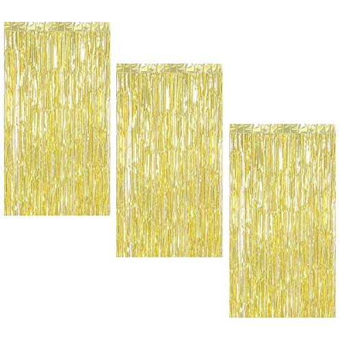 Halloween Engagement Party (3Pcs 3.2ft x 8.2ft Gold Metallic Tinsel Foil Fringe Curtains for Halloween Party Bachelorette Birthday Wedding Baby Shower Engagement Holiday Party Decorations - Party Photo)