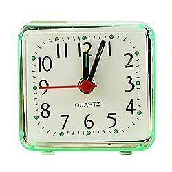 CieKen Simple Bedroom Alarm Clock, Silent Non Ticking Analog Small Lightweight Alarm Clock, Sound Crescendo, Mini Sized Travel Quartz Alarm Clock, Battery Operated (Green)