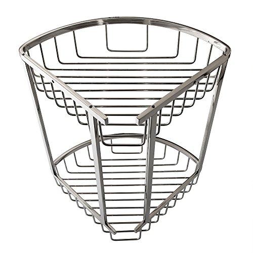 Alise bathroom triangular tub and shower caddy 2 tier shelf basket wall mount sus304 stainless - Triangular bathtub ...
