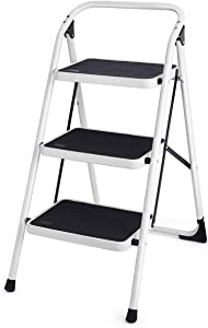 Goplus 3 Step Ladder Folding Heavy Duty Step Stool with Handgrip and Wide Anti-Slip Platform Sturdy HD Construction, 340lbs Capacity (Black)