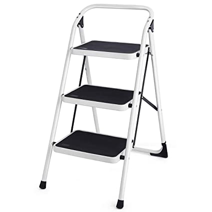 Terrific Goplus 3 Step Ladder Folding Heavy Duty Step Stool With Handgrip And Wide Anti Slip Platform Sturdy Hd Construction 340Lbs Capacity Black Gmtry Best Dining Table And Chair Ideas Images Gmtryco