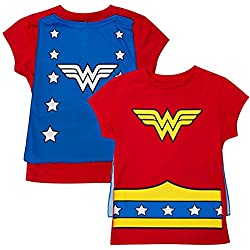 Wonder Woman Girls Cape Costume Tee Shirt, Small / 6X