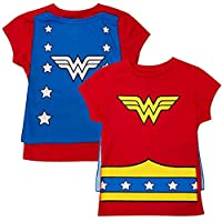 Wonder Woman Girls Cape Costume Tee Shirt, Medium / 7/8