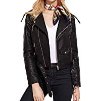 Litetao Women 2017 Fashion Faux Leather Racing Style Biker Pockets Turn-down Jacket