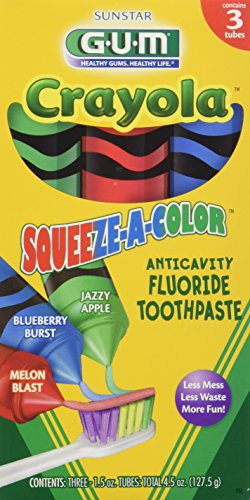 GUM Crayola Squeeze-A-Color Toothpaste  (pack of 3) 9 TUBES TOTAL (Flavored Child Toothpaste)