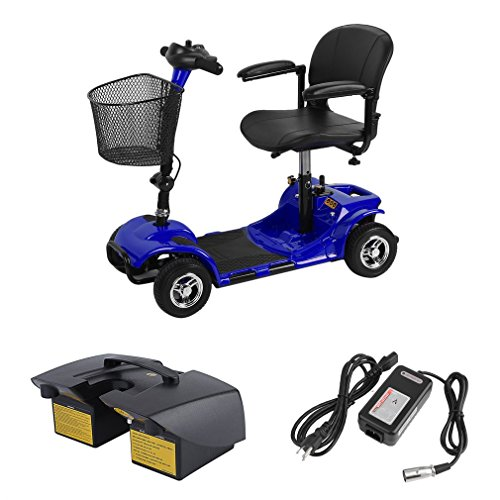 - Graspwind 4 Wheels Travel Power Scooter Transportable Electric Mobility Scooter Bike Including Batteries, Disabled Elderly Mobility Scooters Travel Power Kids Children Handicap Scooters (Blue)