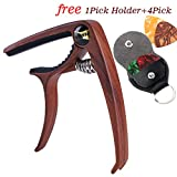 Capo Guitar picks and-pick Holder Case,Quick Change Trigger Capo for Acoustic and Electric Classical Guitar,Free 1 Pick Holder Case+4 Pick (Redwood Capo+pick+Pick Holder)