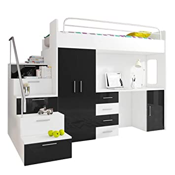 Ye Perfect Choice Alta Cama Tala - 4S, Modern Juego con Armario, Escritorio y Cama con colchón, diseño Funcional Inserciones de, de Alto Brillo: Amazon.es: ...