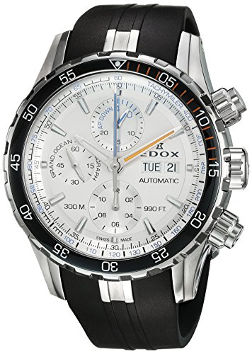 Edox-Mens-Grand-Ocean-Swiss-Automatic-Stainless-Steel-and-Rubber-Diving-Watch-ColorBlack-Model-01123-3ORCA-ABUN