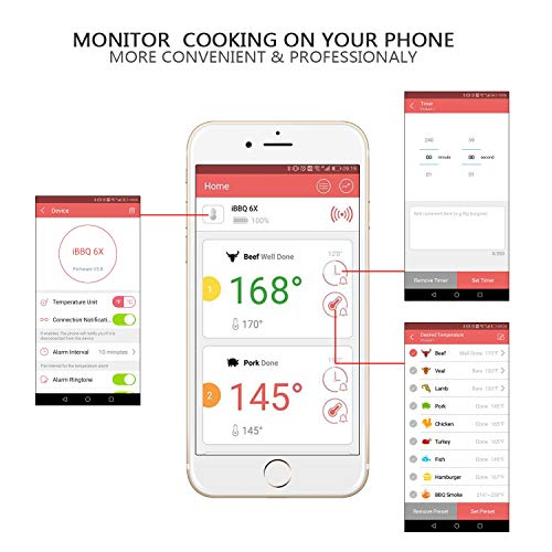 Digital Bluetooth Meat Thermometer for iPhone - 6 Long Probes, Smart  Instant Read, Phone App Wifi Remote, Battery Powered, Easy for Cooking  Food, BBQ