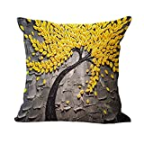 HandyCase Cushion Cover Vintage Flower Pillow Case Mural Yellow Red Tree Wintersweet Cherry Blossom Home Decorative Throw Pillow Cover 18Inches * 18Inches-Style 4