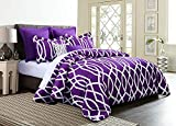 King Size Bed Set for Sale Empire Home Annissa Collection Luxurious 10-Piece Geometric Soft Comforter Set & Bed Sheets Limited-Time Sale!! (Purple Anbu, King Size)
