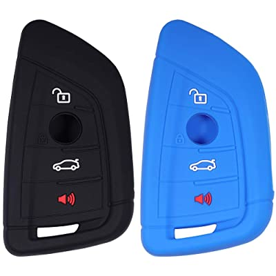 Lcyam Silicone Key Fob Cover Case 4 Button Fits for BMW X1 X2 X3 X5 540I 750I BMW 3 Series (Black Blue): Automotive [5Bkhe0800341]