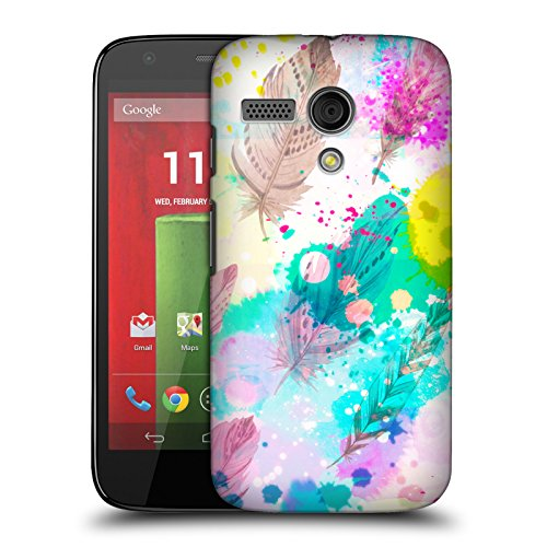 Official Haroulita Splash Feathers Hard Back Case for Motorola Moto G (1st Gen) (Moto Head G Case)