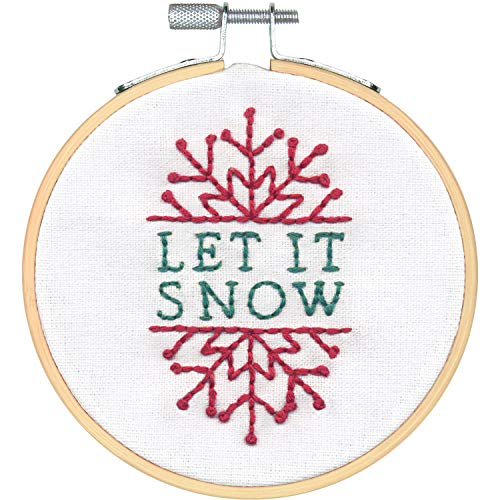 (Dimensions 72-76047 Needlecrafts Let it Snow Christmas Kit, 4'' Embroidery Hoop)