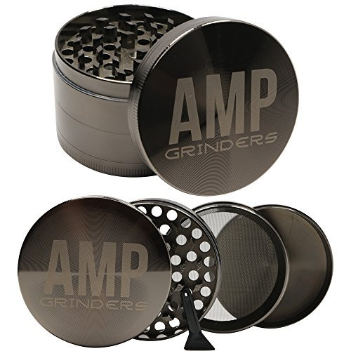 Amp Grinders 2.5 Inch Herb Grinder with Pollen Catcher, Scraper tool and Magnetic Lid