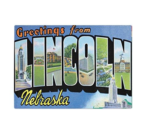 Greeting From Lincoln, Ne Kitchen Bar Glass Cutting Board - Glasses Lincoln Ne