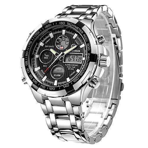 GOLDEN HOUR Luxury Stainless Steel Analog Digital Watches for Men Male Outdoor Sport Waterproof Big Heavy Wristwatch 1