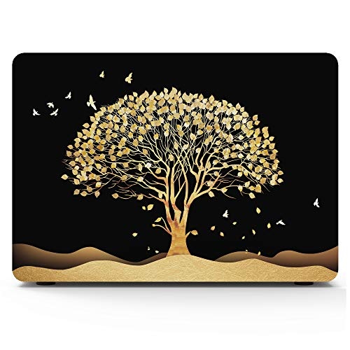 MacBook Pro 15 Inch Case 2016/2017/2018 Release A1707 A1990, AKIT Tree Pattern Soft Touch Hard Case Shell Cover for Apple MacBook Pro with Retina Bar - Golden -