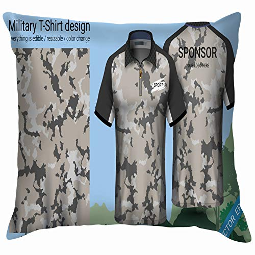 Military Polo Tshirt Design Camouflage Print Beauty Fashion Cotton Linen Home Decorative Throw Pillow Case Cushion Cover for Sofa Couch 12X12 Inch