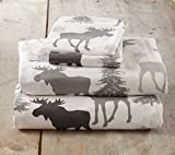 Stratton Collection Extra Soft Printed 100% Cotton Flannel Sheet Set. Warm, Cozy, Lightweight, Luxury Winter Bed Sheets. By Home Fashion Designs Brand. (Queen, Moose)