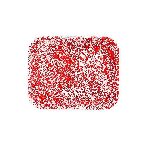 Enamelware Open Roaster, 13 x 10 inches, Red/White Splatter