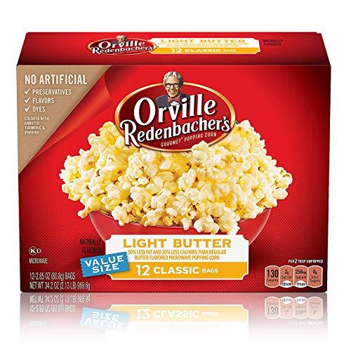 Orville Redenbacher's Light Butter Microwave Popcorn, 2.85 Ounce Classic Bag, 12-Count, Pack of 6 (Butter Light Flavor)