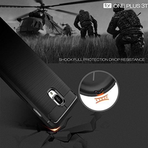Funda Oneplus 3T,Alta Calidad Anti-Rasguño y Resistente Huellas Dactilares Totalmente Protectora Caso de Cover Case Material de fibra de carbono TPU Adecuado para el Oneplus 3T E