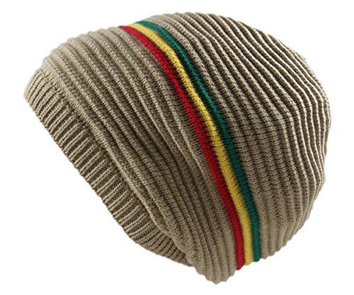 RW Rasta 100% Cotton Knitted Beanie (Khaki/rgy) (Visors Rasta Rgy Beanies)