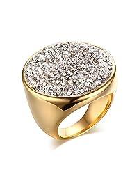 CARTER PAUL Women's Stainless Steel Fashion Shamballa Diamond Ring