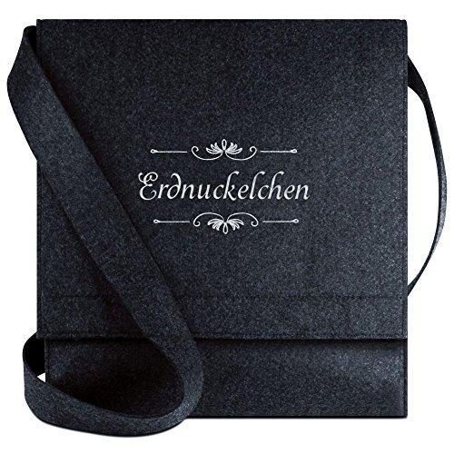 Halfar® Tasche mit Namen Erdnuckelchen bestickt - personalisierte Filz-Umhängetasche