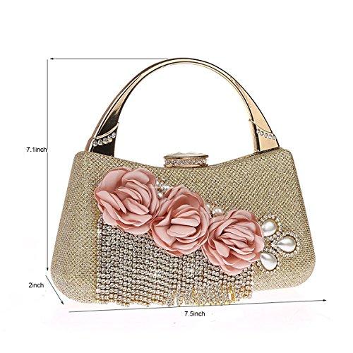 Bags Dinner Wedding for and Beaded Tassels Bags Clutch Purse Evening Women Handbags Golden Flowered qgxvzICwC