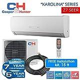 Karolina 27 SEER 9,000 BTU Ductless Mini Split Heat Pump Free 15ft Line Set with WiFi Energy Star