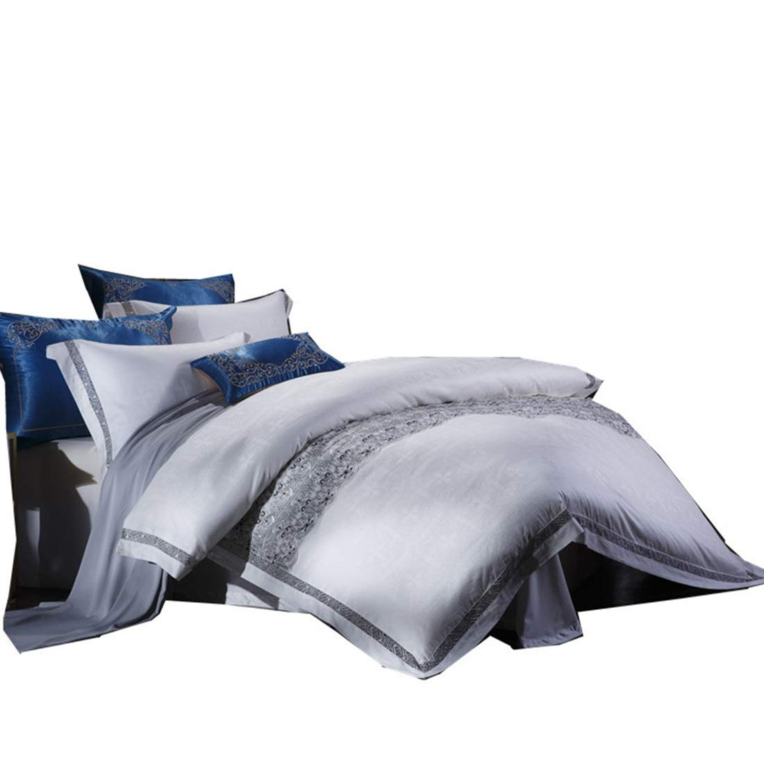 Kainuoo シンプルなレースピュアホワイトハイエンドピュアコットンサテンロングステープルコットン寝具4セット (Size : QUEEN) B07N82SXR2  Queen