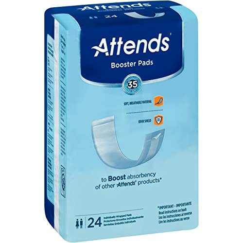 Attends Booster Pads with Odor Shield Technology for Adult Incontinence Care, Unisex ,  24 Count (Pack of 8)