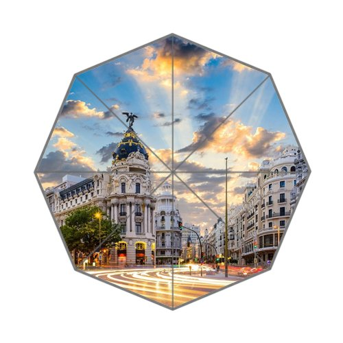 Arquitectura paisaje gran via Madrid plegable paraguas: Amazon.es: Deportes y aire libre